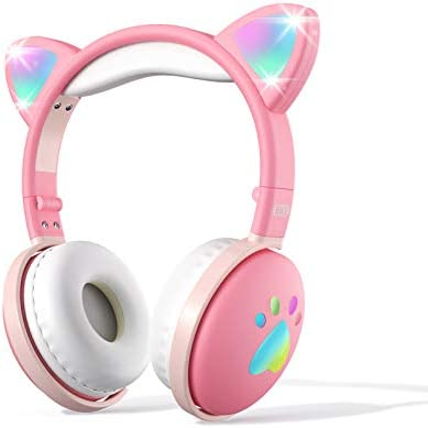 Kids Bluetooth Wireless Headphones, Aresrora Toddler Headphones with Kawaii Cat Ear, Over-Ear with LED Lights, Foldable with Microphone 3.5MM Jack Bluetooth 5.0, Cool Things for Teen Girls (Pink)