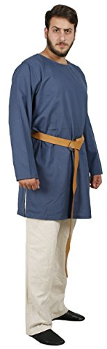 Blue Medieval Knight Costumes (THOR Medieval Tunic by CALVINA COSTUMES -Unisex - Made in TURKEY, S-Blue)