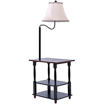 Iron twist base wood tray table floor lamp amazoncom for Swing arm floor lamp with glass tray table