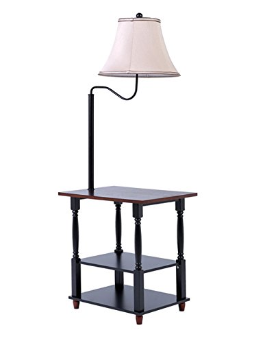 Konesky Floor Lamp with End Table Swing Arm Shade with Built-in Two-Tier Table with Open Display Space - Combination Tray Lamp Modern Wood Lamp for Bedroom and Living Room - Shade Two Tier