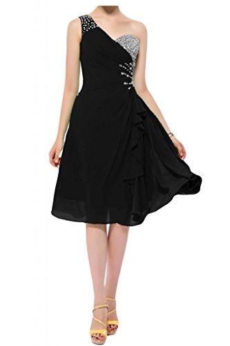 Toscana novia preferido un-hombro vestidos de gasa Teelang por la noche vestido corto vestidos de fiesta negro 50