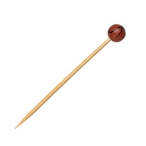 Basketball Themed Bamboo Pick Skewer (Case of 100), PacknWood - Biodegradable Wood Skewer Sticks for Appetizers, Drinks (4.7
