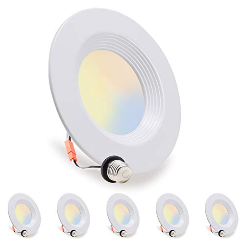 LED Recessed Lighting 5/6 inch Can Light, 10.5W=85W, Dimmable Downlight, Damp Rated, 5 Color Changing(Warm to Daylight…