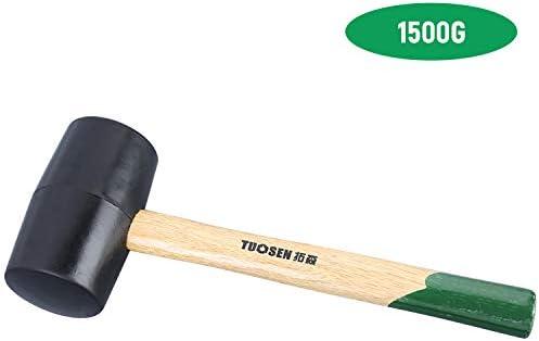 Benkeg ゴムマレット、61500黒いゴム製マレット木製ハンドル付きデュアルフェイスタイルハンマー