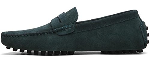 PPXID Mens Suede Leather Slip On Loafers Casual Shoes Navy Qr6zuj