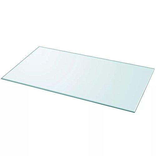 Nishore Tablero de Mesa de Cristal Templado Cuadrado - Color de Transparente Material de Vidrio Templado, Tamano 1200 x 650 mm Grosor 8 mm