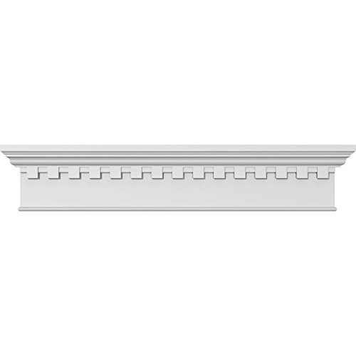 Ekena Millwork CRH07X32BT-DE 32'' Bottom Width x 36'' Top Width x 7 1/4'' H x 1'' P, Traditional Crosshead with Bottom Trim & Dentil Trim, White by Ekena Millwork