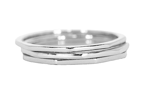 Pura Vida Silver Delicate Stacked Rings - Brass Base .925 Sterling Silver - Size 7