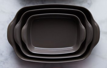 Emile Henry 3 Piece Rectangular Baking Dish Set (Fusain)