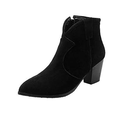 BalaMasa Womens ABS13947 Block Heel Low-Top Pointed-Toe Black Pu Boots - 2 UK (Lable:33)