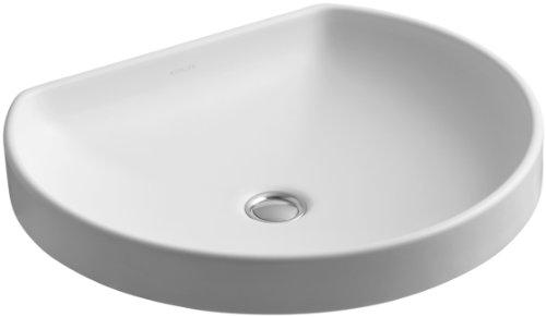 KOHLER K-2332-HW1 Watercove Wading Pool Bathroom Sink, Honed White (Hw1 White Honed Vessels)