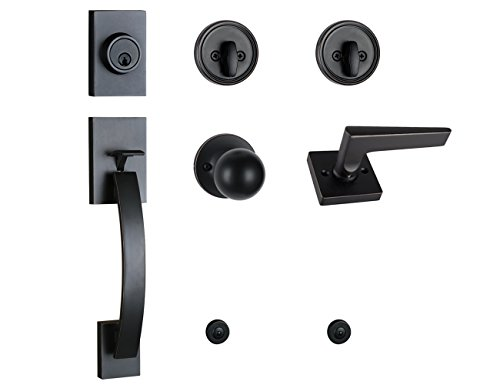 Entry Handleset Oil - Black HandleSet with Deadbolt, Knob Door Handle and Lever Door Handle (for Entrance and Front Door) Reversible for Right and Left Handed Oil Rubbed Bronze Finish, MDHST201710B-AMZ