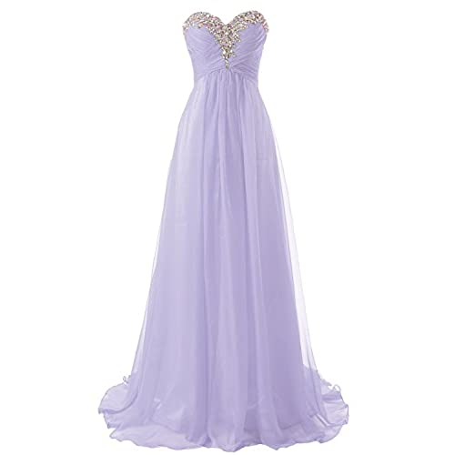 Prom Dress Bridesmaid Dresses Long Chiffon Formal Evening Gown A line Lilac US16W