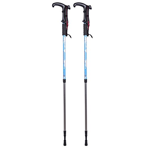 Pair of FLYINGBIRD Ultralight Aluminum Anti Shock Hiking Pole Walking Stick (Blue)