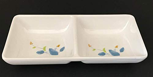 """Lucky Star Melamine 2-Compartment Twin Divided Spicy Soy Sauce Dishes Mustard Wasabi Sashimi Rectangular Plastic Dipping Plates, 5-3/4""""LX 2-3/4""""W X 1""""H (2.5 oz/each), IM Series (96)"""