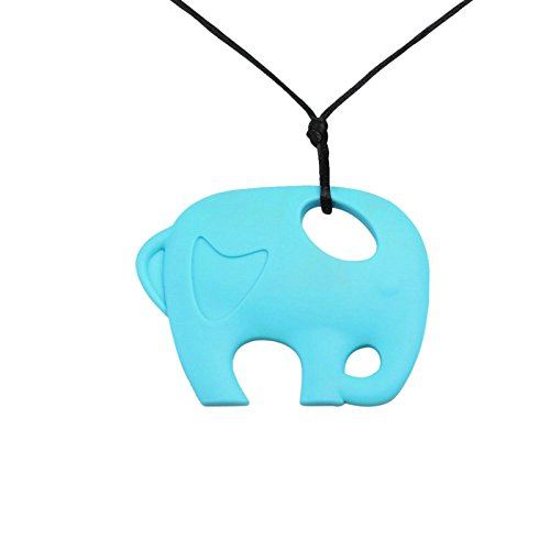 Daesar Baby Chain Silicone Necklace For Women Elephant Engraved Love Heart Light Blue Pendant Necklaces (Women Iced Gel)