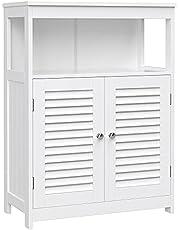 VASAGLE Szafka łazienkowa z drewna, organizer łazienkowy, regał łazienkowy, wolnostojąca z 2 drzwiami lamelowymi, biały, BBC40WT