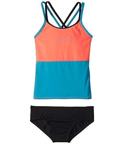 Nike Girl`s Optic Pop Racerback Tankini 2-Piece Swimsuit (Punch(NESS8601-639)/Water, Youth 10)