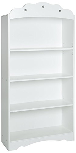 South Shore Tiara Kids 4-Shelf Bookcase - Adjustable Shelves, Pure White ()