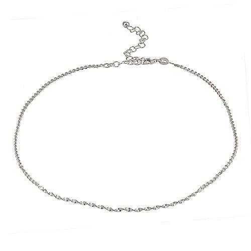 GemStar USA Sterling Silver Twist Herringbone Italian Chain Choker Necklace