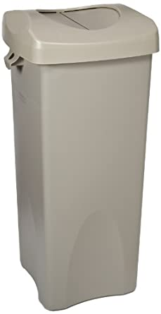 Rubbermaid Commercial Untouchable Trash Can with Swing Lid Combo, 23-Gallon, Beige, FG792020BEIG