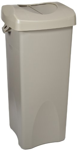 Rubbermaid Commercial FG792020BEIG 23-Gallon Untouchable Trash Can with Swing Lid Combo, Rectangular, Beige (Trash Can Swing Lid compare prices)