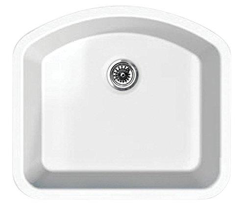 Whitehaus WHE2421D WHE2421DElementhaus single Bowl (D-Bowl) Under Mount Sink with 3 ½