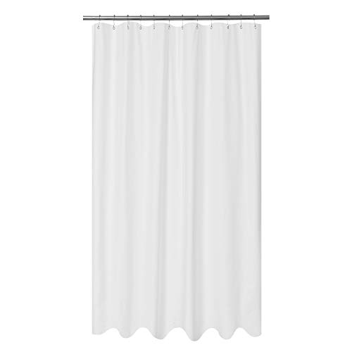 Mrs Awesome Embossed Microfiber Fabric Extra Long Shower Curtain Liner 96 inch Length - Washable and Water Repellent - White