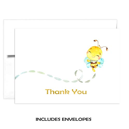 TINSELBOX Bumble Bee Thank you Cards   Blank Inside   Watercolor with Digital Gold Foil (12) ()