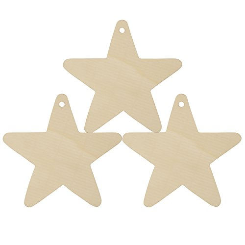(Wooden Star Christmas Tree Ornaments Unfinished, 4 inch, Package of 25- Ready to Be Painted and Decorated - by Woodpeckers)