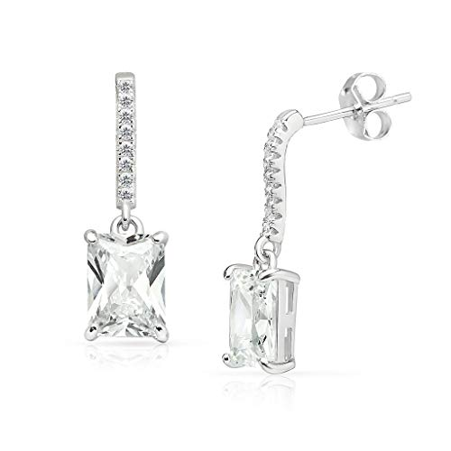SOLIDSILVER -Sterling Silver Rectangle CZ Dangle Stud Earrings with Crystal Clear CZ Inlays | Sterling Silver