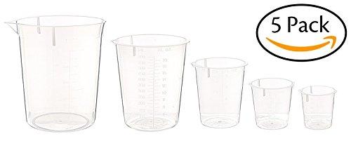 hand2mind Polypropylene Plastic Graduated Beakers (Pack of 5)