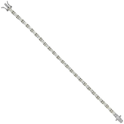 Sterling Silver Alternating Baguette Zirconia