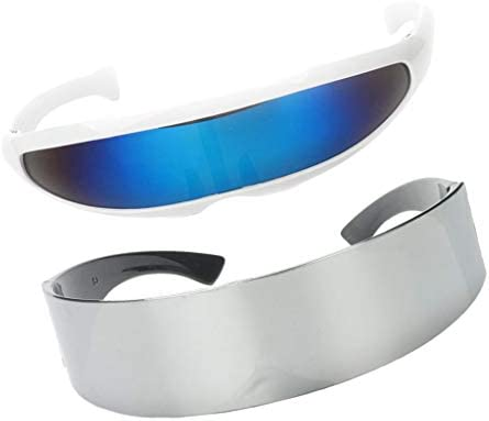 P Prettyia 2X Gafas de Sol Diversión Azul Metálico Plata Futurista ...