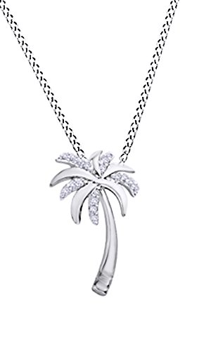 Natural Diamond Accent Palm Tree Pendant in 10K White Gold (White Gold Palm Tree Necklace)