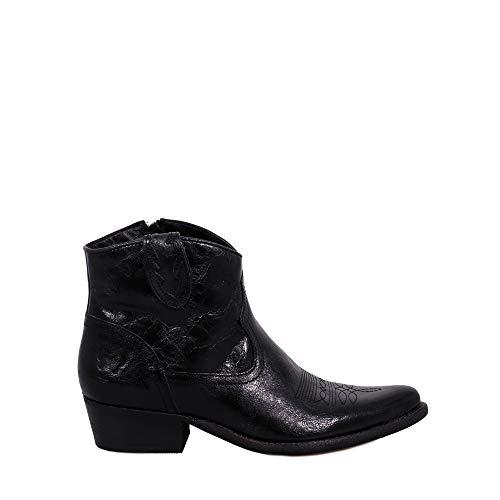 Com Mujer Felmini Negro Biker Cuero Cowboy Para B504 Enamorarse West Zapatos Genuino amp; Botines EqIBRwIna