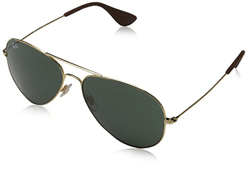 (Ray-Ban 3558 Aviator Sunglasses, Non-Polarized, Gold/Green Classic, 58 mm)