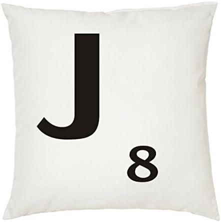 Cojines con la Letra J imitación fichas de Scrabble o apalabrados. Medida 45X45 cm. Color Blanco. Solo Funda: Amazon.es: Hogar