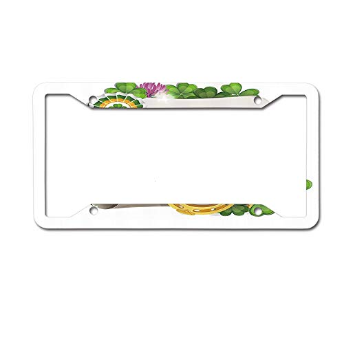 MichelleSmithred Horseshoes Gold Coins and Paper Scroll with Clover Leaves License Plate Frame Aluminum Metal Tag for US Canada Standard 4 Holes Screws