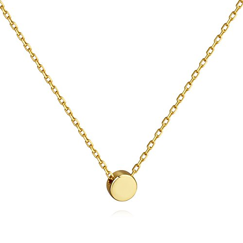 - Meow Star Tiny Dot Necklace Sterling Silver Floating Disc Circle Pendant Minimalist Necklace (Gold)