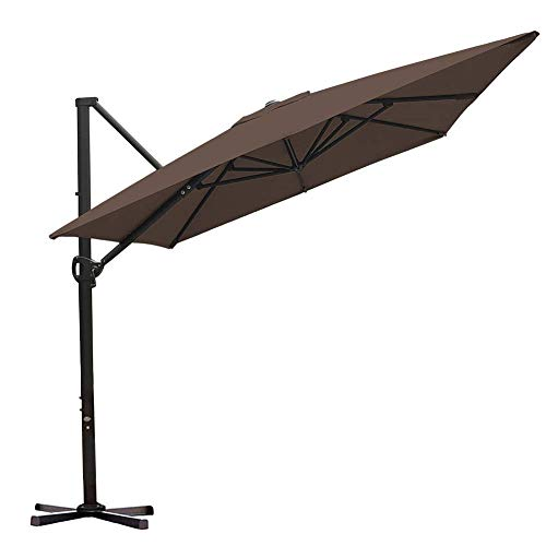 Abba Patio Rectangular Offset Cantilever Patio Umbrella with Crank Lift Tilt and Cross Base, 8 x 10 Feet, Cocoa ()