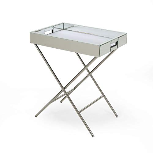 Great Deal Furniture 308292 Grace Glam Mirrored Tray Top Accent Table, Silver ()