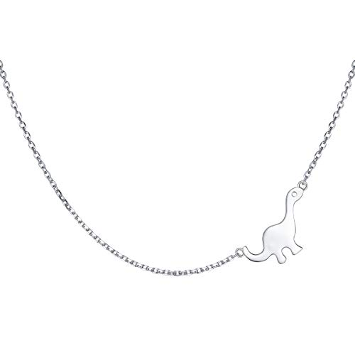 - S925 Sterling Silver Jewelry Sideways Cool Dinosaur Animal Choker Necklace for Women Girls 15+3