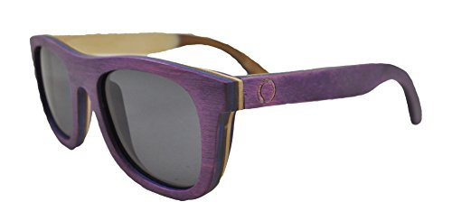 Skateboard Wooden Sunglasses for Men or Women, Wood Sun Glasses in Purple with Blue and Brown Layers and Black Polarized Lenses, Trendy Wood Frame Sunglasses, Wayfarer Sunglasses Unisex