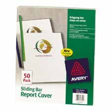 Avery Consumer Products : Sliding Bar Report Cover,20 Sheet Cap.,50/PK,CL Cvr.,WE Bar -:- Sold as 2 Packs of - 50 - / - Total of 100 Each