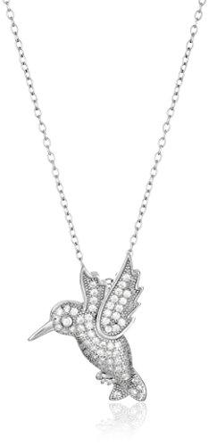 Hummingbird Sterling Pendant (Sterling Silver Cubic Zirconia Hummingbird Pendant Necklace, 18