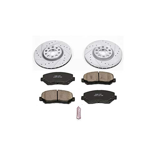 Power Stop K6372 Front Brake Kit with Drilled/Slotted Brake Rotors and Z23 Evolution Ceramic Brake Pads
