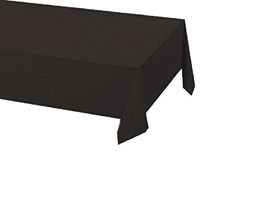 Creative Converting Touch of Color Plastic Lined Table Cover, 54 by 108-Inch, Black Velvet (2 Pack)