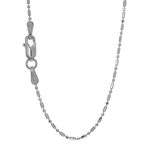 JewelStop 14k Solid White Gold 1 mm Diamond-cut Bar & Bead Ball Chain Lobster Claw-20