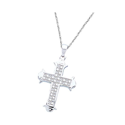 Roy Rose Jewelry 14K White Gold Womens Princess Diamond Cross Religious Pendant 1/2 Carat tw (Setting Rose Invisible Diamond Pendant)